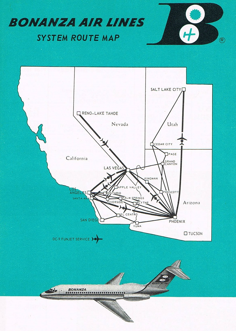 Bonanza Airlines Fenruary 1, 1968 Route Map on air florida route map, southwest airtran route map, southern airways route map, british airways route map, south west route map, britannia airways route map, south west airlines seat map, braniff international route map, south west airline from seattle map, southwest airlines flight routes map,