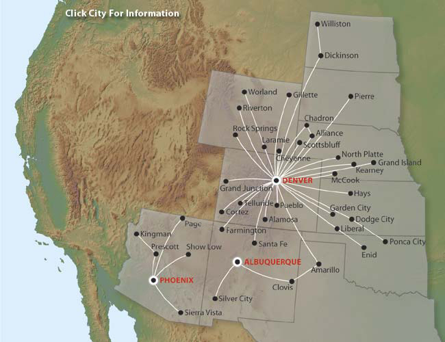 great lakes aviation route map Great Lakes Airlines December 2005 Route Map great lakes aviation route map
